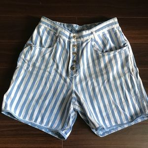 Vintage Reversible Denim Exposed Button Fly Shorts